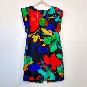 ECCOCI Bright Floral Silk Dress Size: 6